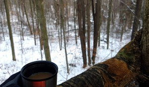 Not much beats a hot cup of coffee while watching for deer on the season's opening day.