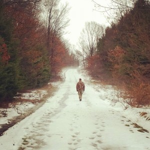 Matt walks the long trail headed toward food plots on Game Lands 86.